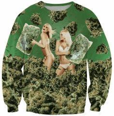 Sexy fashion sweatshirt 3D Weed Bikini Girls 420 Pillow Fight printed funny pullover long sleeve women