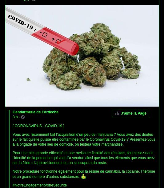 La gendarmerie de l'Ardèche propose de tester votre weed contre le coronavirus
